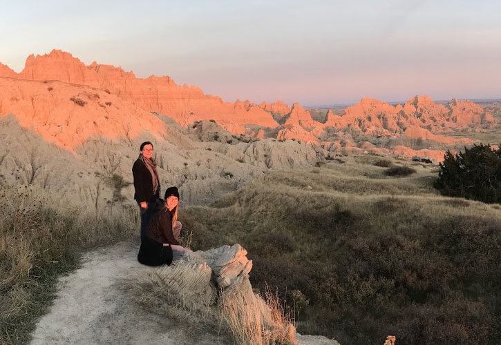 Art Education students Kylee Mitchell and Mackenzie Guice  in South Dakota