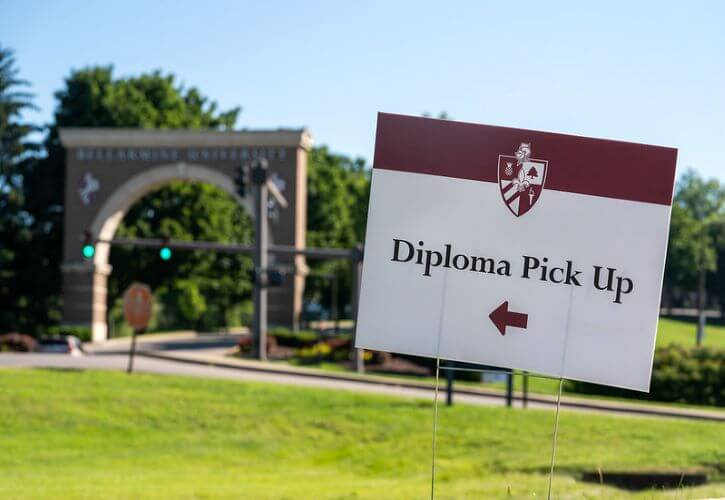 Class of 2020 graduates picked their diplomas up in a drive-through at Allen Hall.