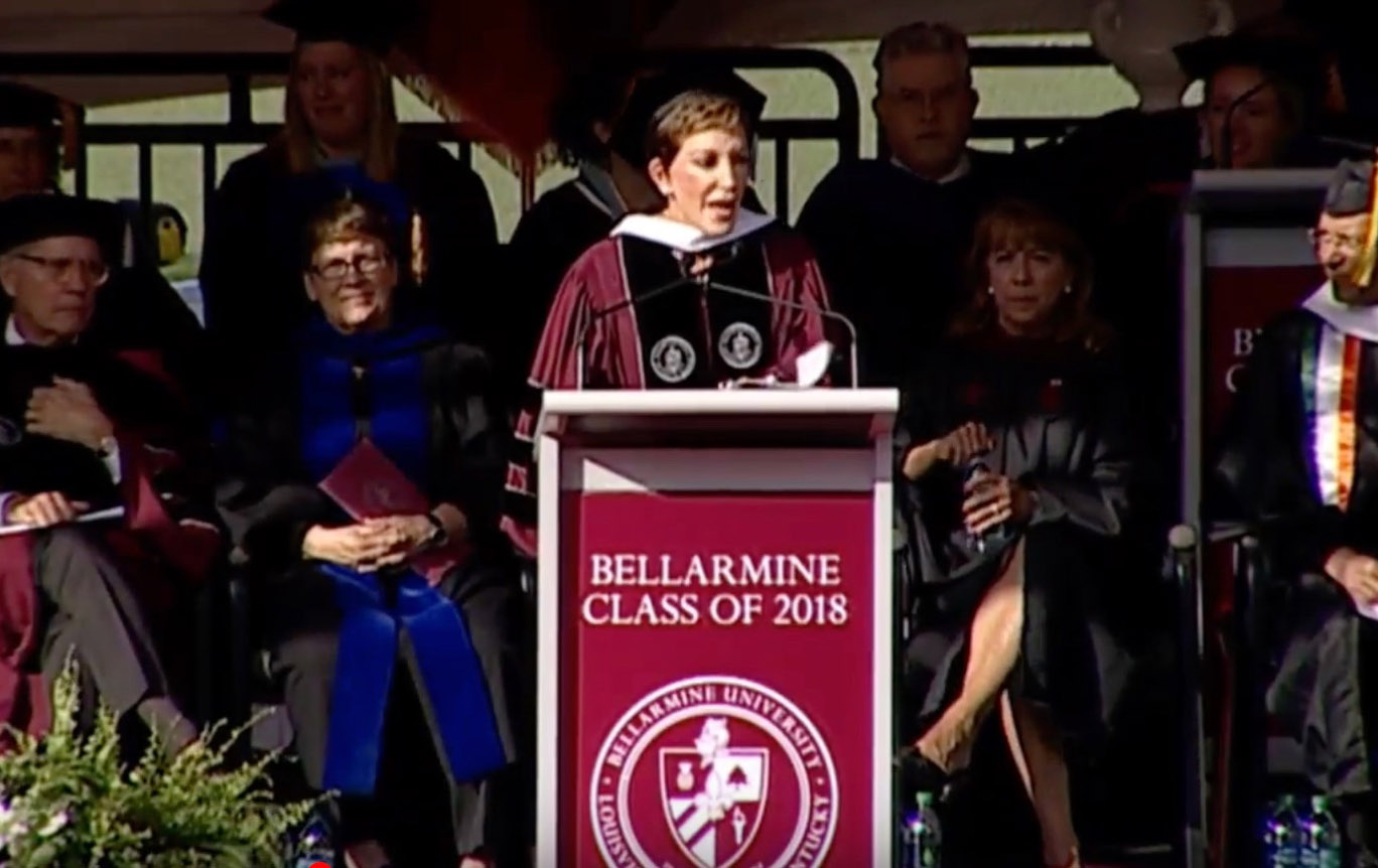 Cameron addressing commencement crowd