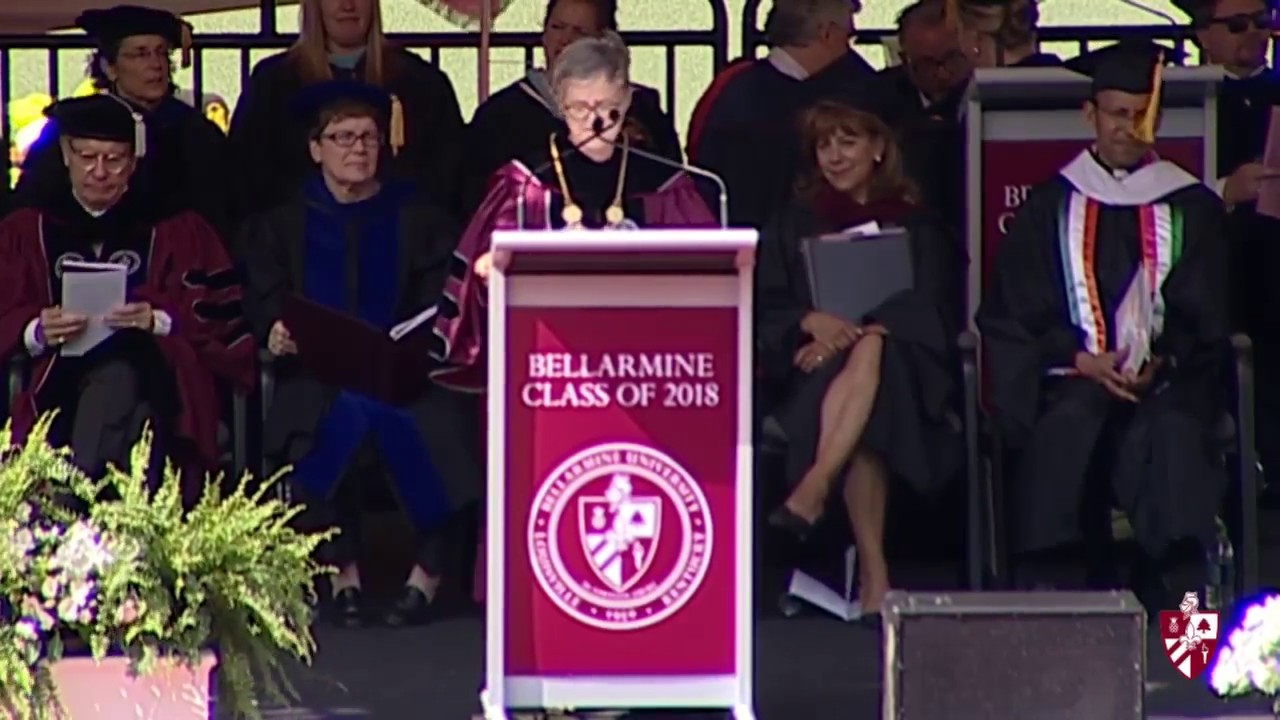 President Susan Donovan addressing commencement crowd