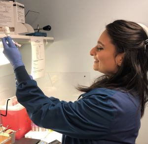 Meera Patel, who obtained her graduate MLS degree in 2019, works in a specialized Blood Bank Lab at Norton Healthcare.