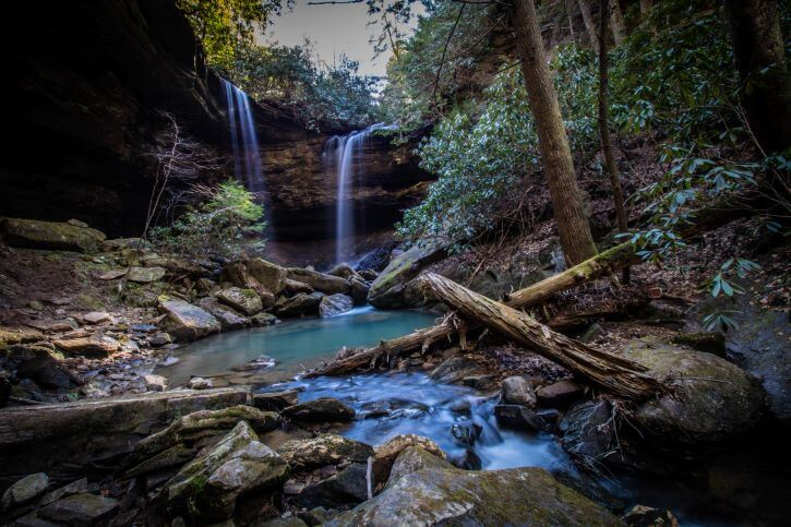 First Place, Domestic category, 2019 Photo Contest: Pine Island Double Falls, Daniel Boone National Forest in London, Ky.