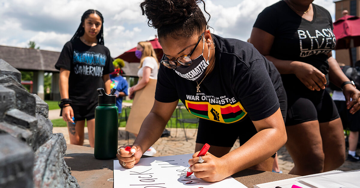 Protests continue for the ninth day in Louisville, Kentucky on Friday, June 5, 2020, after the recent deaths of Breonna Taylor and George Floyd. Students created signs on the Bellarmine Quad.