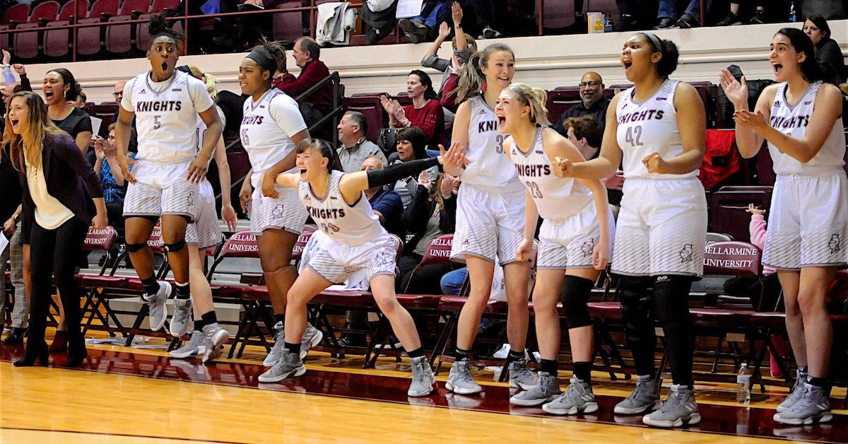 women's basketball bench reacts